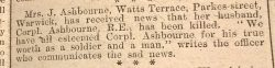 Warwick Advertiser 27th April 1918