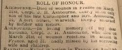 Warwick Advertiser 20th April 1918