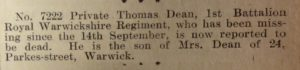 Warwick Advertiser 4th December 1915